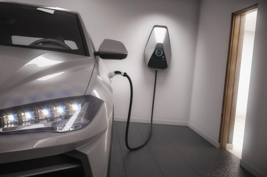 charging electric car generic suv in garage